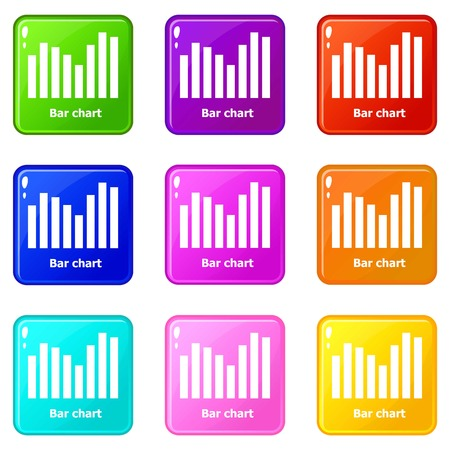 Bar chart icons set 9 color collection 向量圖像