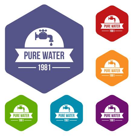 Natural pure water icons vector hexahedron