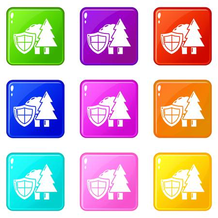 Environment protection icons set 9 color collection isolated on white for any design