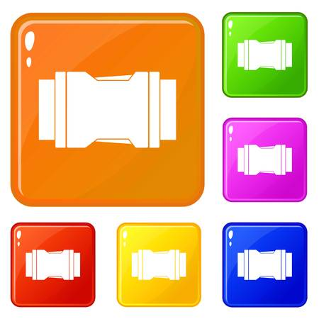 Side release buckle icons set vector color