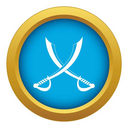 Crossed sabers icon blue vector isolated Illustration