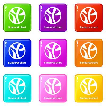 Sunburst chart icons set 9 color collection