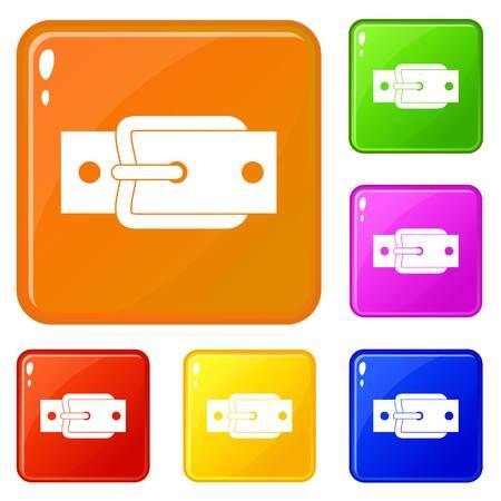 Metal belt buckle icons set vector color
