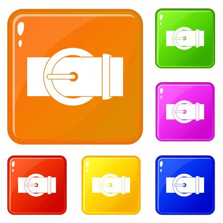 Circle belt buckle icons set collection vector 6 color isolated on white background Illustration