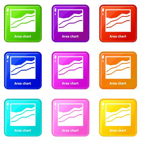 Area chart icons set 9 color collection Vectores