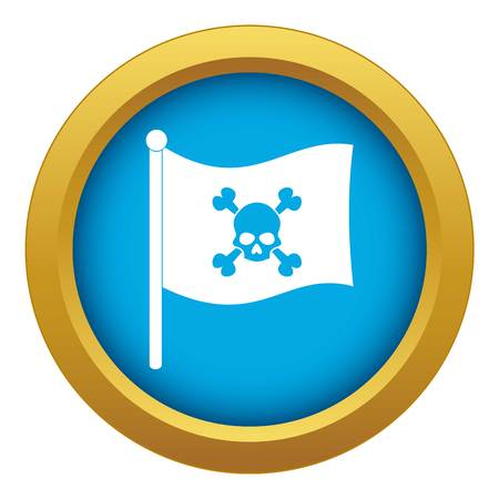 Pirate flag icon blue vector isolated