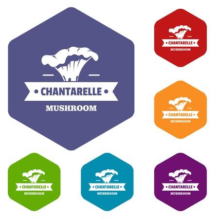 Mushroom chantarelle icons vector hexahedron