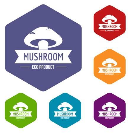 Mushroom harvest icons vector hexahedron