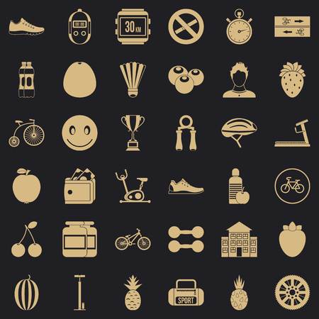 Measure icons set, simle style Illustration