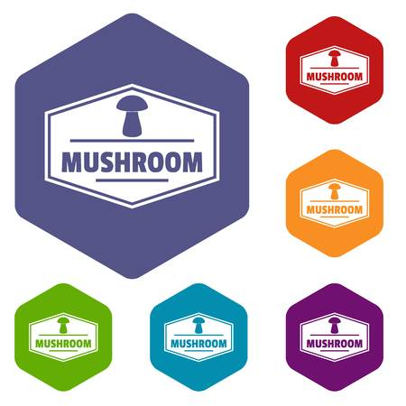Mushroom healthy icons vector hexahedron