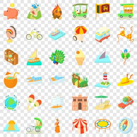 Big adventure icons set, cartoon style