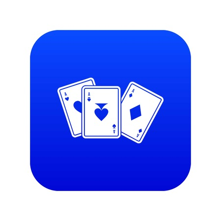 Playing cards icon digital blue for any design isolated on white vector illustration