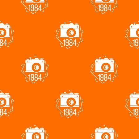 1984 photo camera pattern vector orange