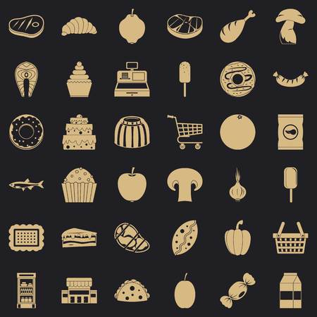 Food shopping icons set. Simple style of 36 food shopping vector icons for web for any design