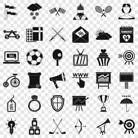 Flying arrow rrow icons set. Simple style of 36 flying arrow vector icons for web for any design Banque d'images - 122209984