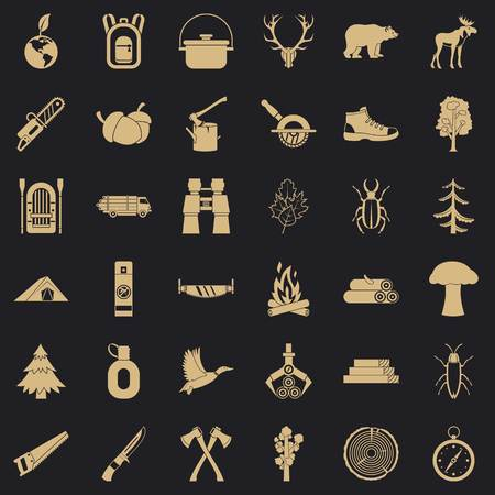 Forest icons set. Simple style of 36 forest vector icons for web for any design
