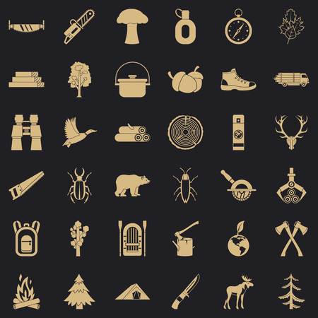 Camping icons set. Simple style of 36 camping vector icons for web for any design