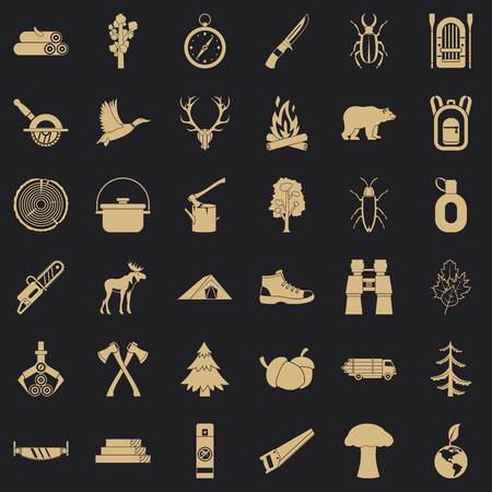 Outdoor icons set. Simple style of 36 outdoor vector icons for web for any design