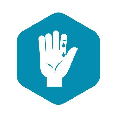 Dedo con icono de goteo de sangre. Ilustración simple de dedo con sangre goteando icono de vector para web