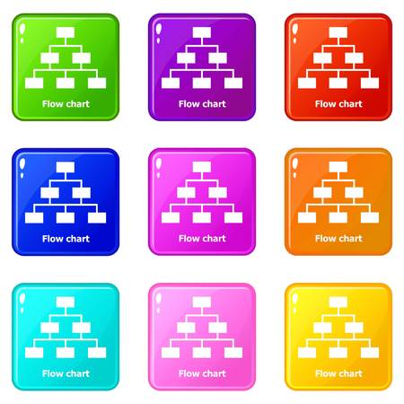 Flow chart icons set 9 color collection isolated on white for any design Çizim