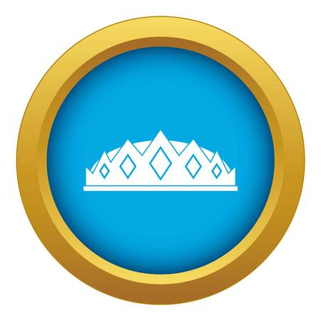 Small crown icon blue vector isolated on white background for any design