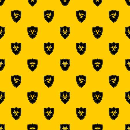Shield with a biohazard sign pattern seamless vector repeat geometric yellow for any design