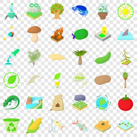 Biology and ecology icons set. Cartoon style of 36 biology and ecology vector icons for web for any design