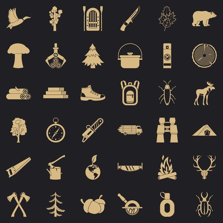 Fir tree icons set. Simple style of 36 fir tree vector icons for web for any design Ilustração