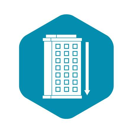 Tall building and down arrow icon. Simple illustration of tall building and down arrow vector icon for web Illustration