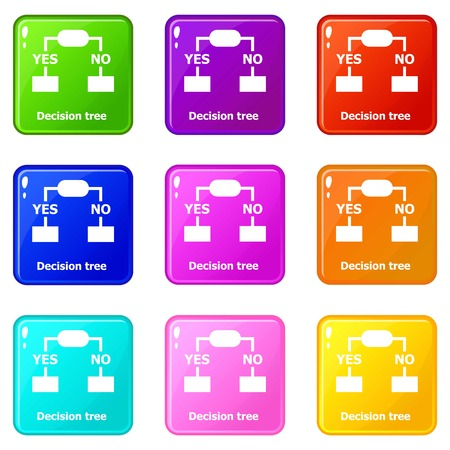 Decision tree icons set 9 color collection