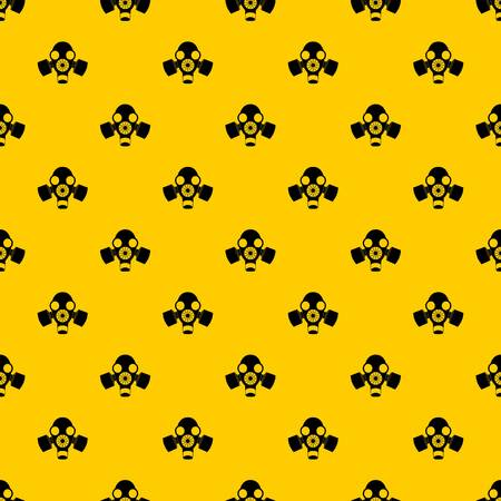 Black gas mask pattern seamless vector repeat geometric yellow for any design