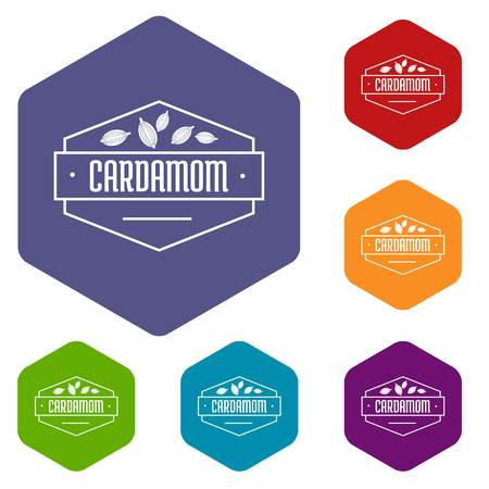 Cardamom icons vector hexahedron