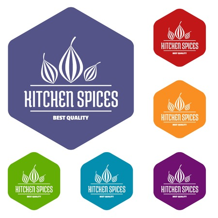Eco kitchen spice icons vector hexahedron