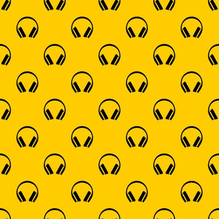 Protective headphones pattern seamless vector repeat geometric yellow for any design Illustration