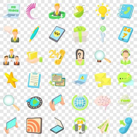 Contact us icons set, cartoon style  イラスト・ベクター素材