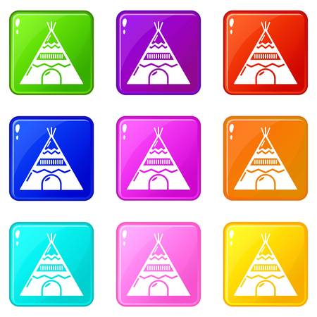 Indian tent icons set 9 color collection isolated on white for any design