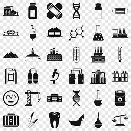 Chemical barrel icons set, simple style