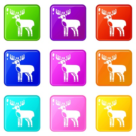 Elk icons set 9 color collection isolated on white for any design