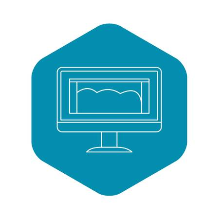Drawing monitor icon, outline style
