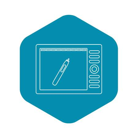 Graphics tablet icon, outline style Illustration