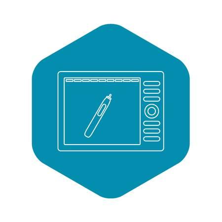 Graphics tablet icon, outline style Ilustração
