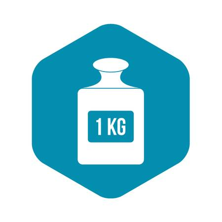 One kilogram weight icon. Simple illustration of one kilogram weight vector icon for web Stock Vector - 130236380