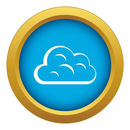 Big cloud icon blue vector isolated