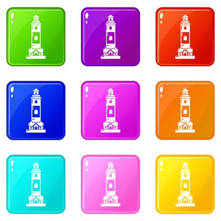 Lighthouse icons set 9 color collection isolated on white for any design Vecteurs