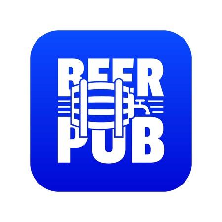 Beer pub icon blue vector