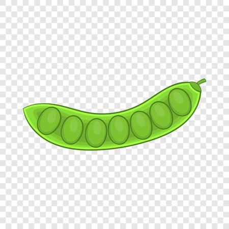 Green pea pod icon. Cartoon illustration of pea vector icon for web design