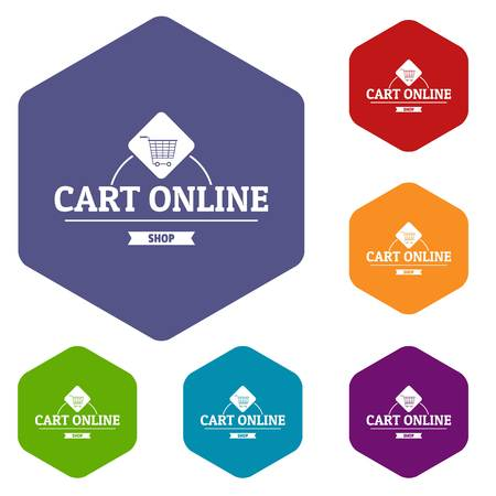 Cart online icons vector hexahedron