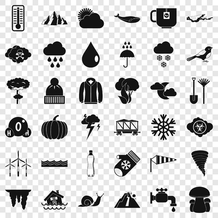 Snowy cloud icons set, simple style