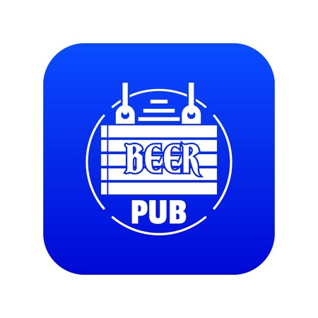 Wood board beer pub icon blue vector Illustration