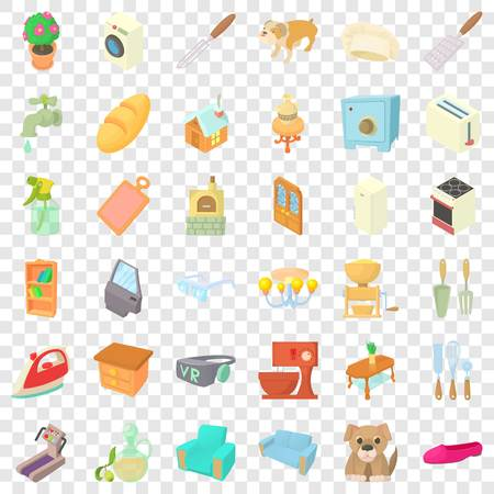 Sweet home icons set, cartoon style